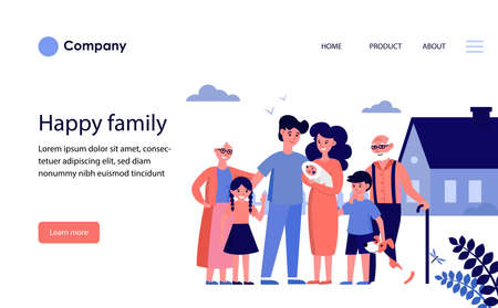 Happy family with grandparents and kids standing at house. Family with newborn child smiling outdoors flat vector illustration. Happy family concept for banner, website design or landing web page Illustration