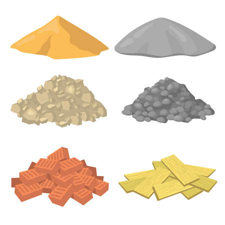 Various construction material piles flat icon set. Crushed stones, gypsum, sand, bricks and wooden planks vector illustration collection. Masonry and building concept