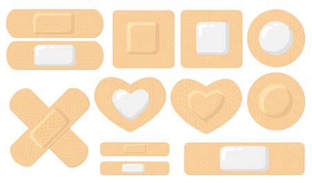 Various adhesive medical plasters flat icon set. Cartoon elastic bandage patches for wound vector illustration collection. Care and health concept