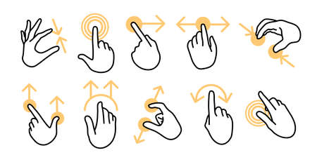 Various hand gestures for touchscreen devices flat icon set. Finger touching, swiping left or right, pinching on phone screen vector illustration collection. Interface and digital technology concept