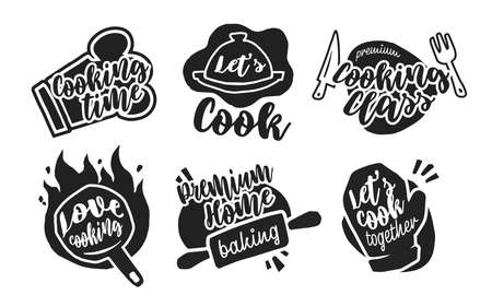 Different cooking calligraphy labels flat icon set. Round emblems and signs for bistro, restaurant and menu vector illustration collection. Gastronomy and typography concept
