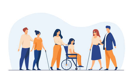 Volunteers helping disabled friends in outdoor walking, leading blind people or wheeling wheelchair. Can be used for disability, diversity, assistance concept