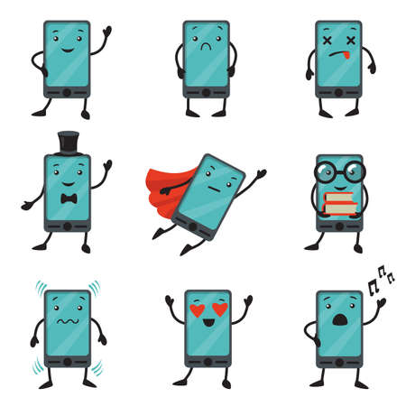 Mobile phone cartoon character set. Sad, smiling or dead cellphone, smartphone in superhero clothes, cellphone in love. Vector illustration for digital device, technology concept 向量圖像