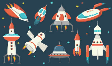 Spaceships and rockets set. Futuristic spacecraft and ufo exploring outer space, flying among stars. Vector illustration for rocketship, galaxy, technology concept