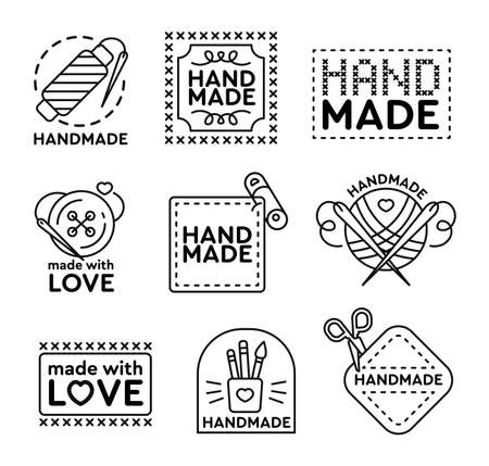 Handmade badges set. Emblems and logos for cross stitching, sewing, knitting theme design. Black vector illustrations on white background