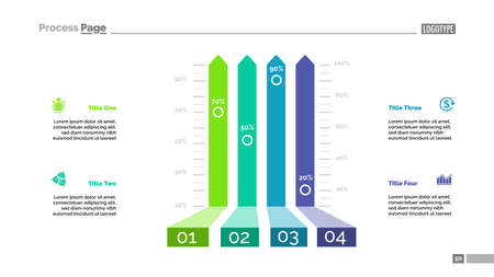 Four options bar chart template for presentation. illustration. Elements of diagram, graph, infochart. Strategy, finance, business or marketing concept for infographic, report.