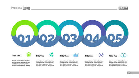 Five circle flowchart with description slide template. Business data. Graph, diagram, design. Creative concept for infographic, report. Can be used for topics like strategy, plan, startup
