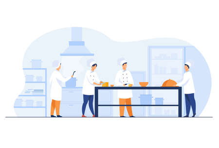 Chefs, cooks and waiters working at restaurant kitchen isolated flat vector illustration. Cartoon professional and commercial cooking process. Hospitality and food concept 일러스트
