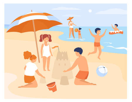 Happy children playing on sea shore sand beach isolated flat vector illustration. Cartoon kids sunbathing, swimming, building sand castle. Summer activity and childhood concept
