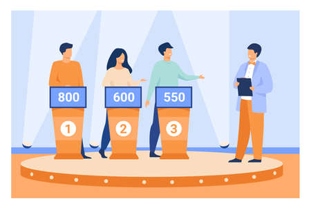Intelligent young people playing television quiz with host isolated flat vector illustration. Cartoon TV program participants answering questions. Game quiz show and puzzle concept