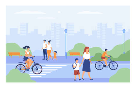 People walking along street in city park isolated flat vector illustration. Cartoon men, women and kids pacing or cycling. Urban landscape, lifestyle and summer activity concept Vektorové ilustrace