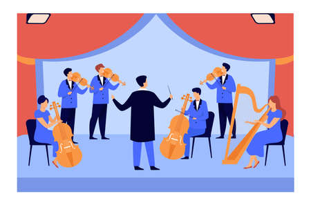Conductor and musicians playing on violin, harp and cello isolated flat vector illustration. Cartoon symphony orchestra on stage. Classical music and entertainment concept