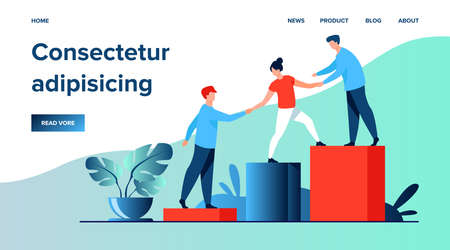 Employees giving hands and helping colleagues to walk upstairs. Team giving support, growing together. Vector illustration for teamwork, mentorship, cooperation concept