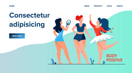 Happy girls admiring their bodies flat vector illustration. Body positive female characters smiling each other. Active women with plus size figures. Different beauty, fashion and healthy lifestyle Illustration