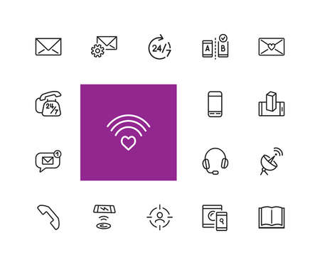 Communications icons. Book, letter, mobile phone. Communication technology and applications concept. illustration can be used for topics like connection, internet, web and mobile service Reklamní fotografie