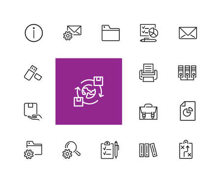 Documents icons. Set of line icons. Information sign, folder, usb flash drive. Data storage concept. illustration can be used for topics like web pictograms, information organization