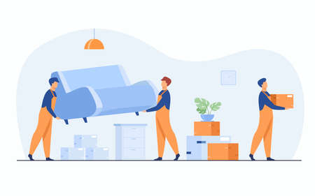 Moving to new apartment concept. Men in overalls taking boxes and furniture out of apartment. Flat vector illustration for housing, loading service, loader job, real estate sale concepts