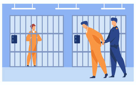 Criminals in jail concept. Guard officer escorting prisoner to prison room. Vector illustration for jailhouse worker, police investigation, crime, jail security work concepts