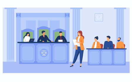 Attorney pleading in court. Lawyer woman speaking in courtroom, reading from notes, addressing judge and jury box. Vector illustration for courthouse, trial, law, judgment, justice concept Vectores