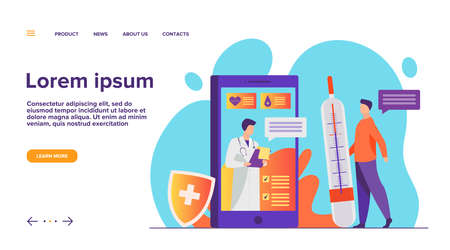 Online doctor support via smartphone vector illustration. Mobile medicine assistance chat with physician or nurse. Medical treatment, healthcare, and pharmaceutics concept for website design