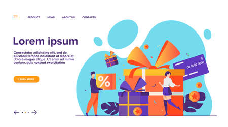 Loyalty program concept. People getting gifts and rewards from store, bonus points, discount. Flat vector illustration for promotion, commerce, sale, marketing topics