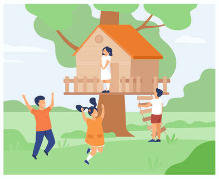 Boys and girls playing at treehouse. Children enjoying summer adventures with their wooden hut, running, jumping, climbing on tree house. For country playground, childhood, vacation concepts