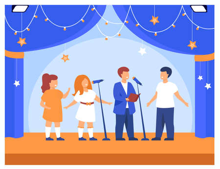 Children performing at school party or concert. Band of boys and girls singing with microphones on school theater stage. Vector illustration for kids theater, vocal, music talent show topics 矢量图像