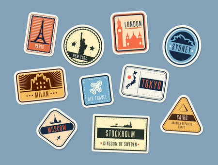 Travel badges set. Vintage stickers with city names and sights. Vector illustration for summer vacation, holiday, tourism concepts, touristic label templates Illustration