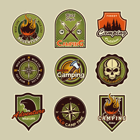 Camping patches set. Vintage logos, emblems and badges with text, eagle, compass, campfire illustrations. Can be used for adventure tourism, mountain trekking topics