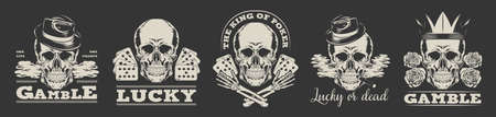 Gambling logos set. Vector illustration in vintage style of skulls in gangster top hats or crown with playing cards and text samples. Can be used for poker club labels, casino concept
