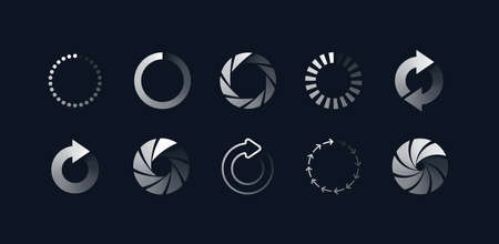 Loading symbols set. Buffering upload and download progress signs. Vector illustrations of circles, round arrows and camera shutters for website interface, data transfer concepts