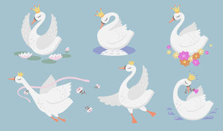 Cute princess swan flat icon set. Cartoon beautiful swan or goose in gold crown and floral graphic isolated vector illustration collection. Bird, fantasy and fairytale creature concept