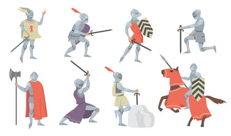 Various medieval knights flat icon set. Chivalry princes, soldiers and fighters in metal armor with shields and swords isolated vector illustration collection. History and battle concept