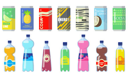 Various drinks in metallic cans and plastic bottles flat icon set. Cold orange juice, sweet water, energy lemonade isolated vector illustration collection. Food and beverages concept