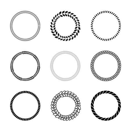 Different black round rope frames flat icon set. Decorative vintage circles and round cable shapes vector illustration collection. Decoration and design concept