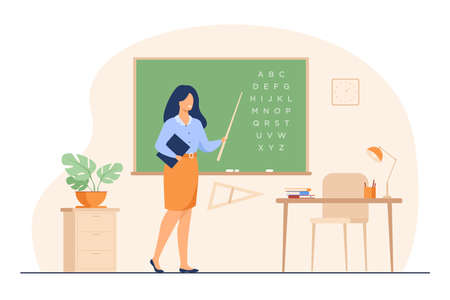Teacher standing near blackboard and holding stick isolated flat vector illustration. Cartoon woman character near chalkboard and pointing on alphabet. School and learning concept