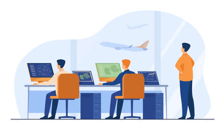 Flight control center isolated flat vector illustration. Cartoon airport command room or tower for fly track controlling. International transportation and weekend concept