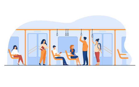 People standing and sitting in bus or metro train isolated flat vector illustration. Cartoon men and women using subway. Destination and public urban transport concept