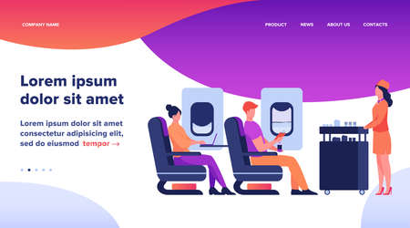 Air trip with comfort flat vector illustration. Passengers waiting for airline meal. People travelling by plane and sitting near airplane window. Airline, tourism and journey concept. Illusztráció