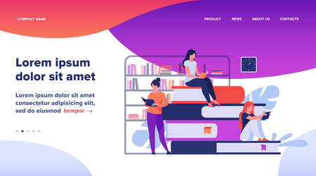 Book readers concept. People sitting on stack of books in library, women reading textbooks at home, students doing homework research. Flat vector illustration for knowledge, literature topics Illustration