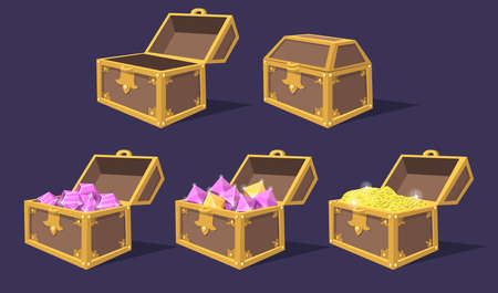 Closed and open colorful treasure chests flat icon set. Cartoon bright pirate chests with gems and coins isolated vector illustration collection. Game trophy and UI elements concept 벡터 (일러스트)
