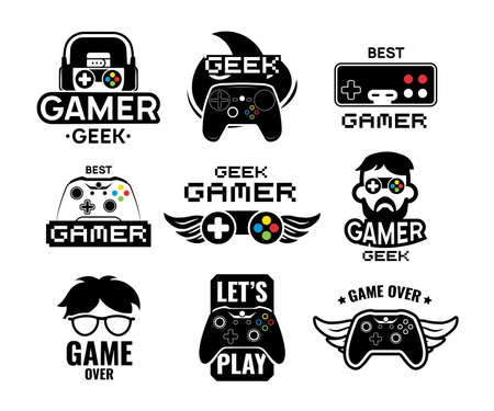 Video game logo set. Emblems with gamer, vintage and modern joystick console controller, headset. Isolated vector illustration for online game label template Logo