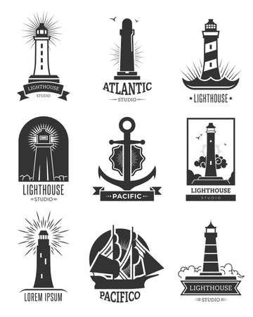 Nautical shipping logo set. Isolated monochrome illustrations of lighthouses, anchor and ship. For marine navigation emblem, sea travel, cruise label templates