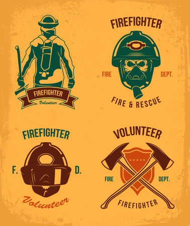 Firefighter badges set. Vintage patches with fireman in helmet and gas. Emblem with axes and shield in grunge style. Vector illustration collection for fire department logo templates Illustration