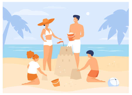 Summer family activities concept. Children, mom and dad making sandcastle on beach. For tropical resort, holiday, tourism concept