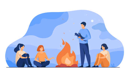 Campfire, camping, story telling concept. Cheerful people sitting at fire, telling scary stories, having fun. For summer outdoor activities or leisure time with friends topics Illustration