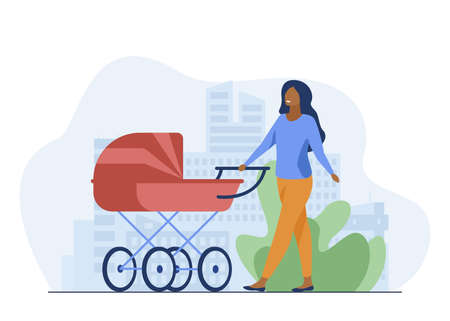 Young mother walking with baby carriage along street. Mom, infant, motherhood flat vector illustration. Parenthood and urban lifestyle concept for banner, website design or landing web page