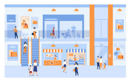 Department store interior with customers. People shopping in city mall, walking through building halls past windows, carrying bags. For market, sale, discount concepts. Ilustração