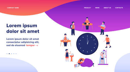 School child schedule. Clock with kids sleeping, eating, studying, resting, having shower flat vector illustration. Daily routine concept for banner, website design or landing web page 向量圖像