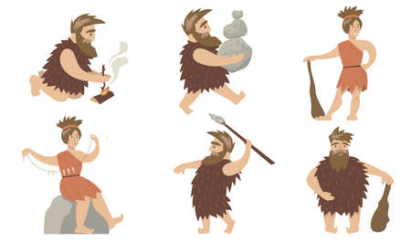 Promotive cave people set. Ancient man and woman controlling fire, carrying stones, hunting with spears and cudgel. For primitive people, anthropology, prehistoric period concept